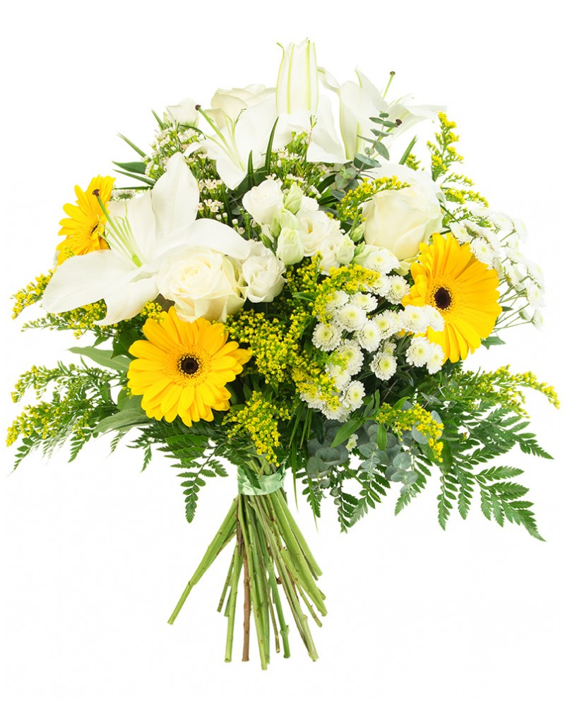 White and Yellow Bouquet - Monkstown Flowers