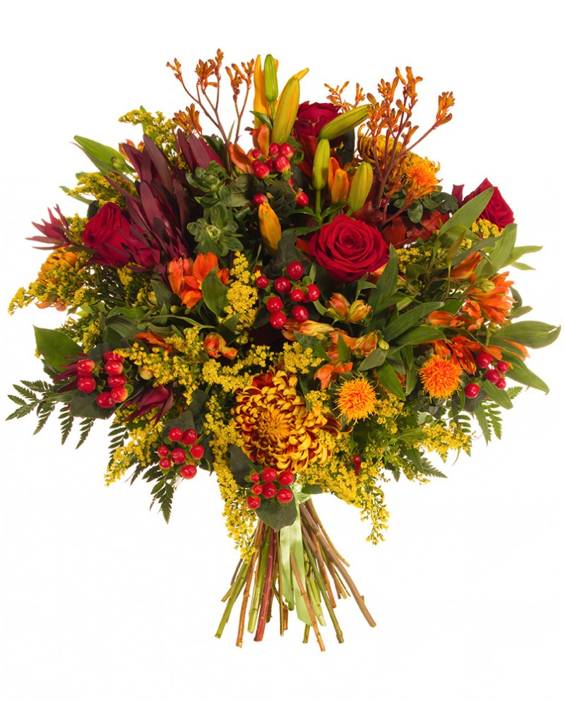 Orange and Red Bouquet - Monkstown Flowers