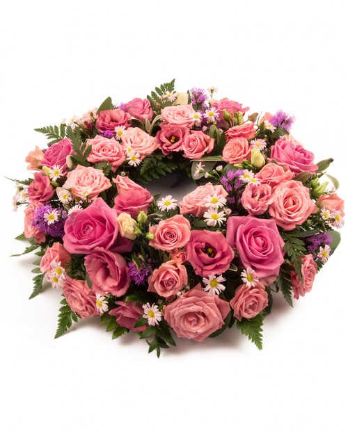 Pink and Purple Wreath - Monkstown Flowers